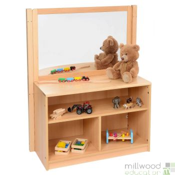 Bookcase With Solid Back & Drywipe/Mirror Divider