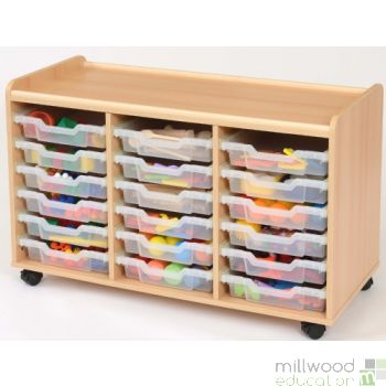 TTS Storage Unit with 18 Shallow Clear Trays