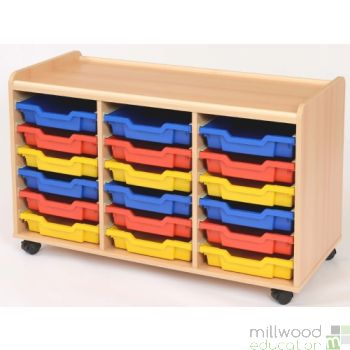 TSS Storage Unit with 18 Shallow Coloured Trays