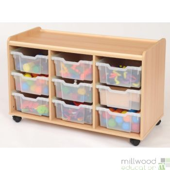 TTS 9 Deep Tray Storage Unit with Clear Trays