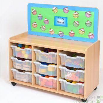 TTS Cork-Backed 9 Deep Tray Storage Unit with Clear Trays