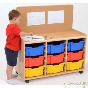TTS Cork-Backed 9 Deep Tray Storage Unit with Coloured Trays