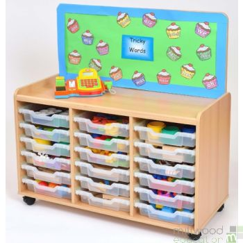 TSS Storage Unit with Cork Panel and 18 Shallow Clear Trays