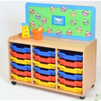 TSS Storage Unit with Cork Panel and 18 Shallow Coloured Trays