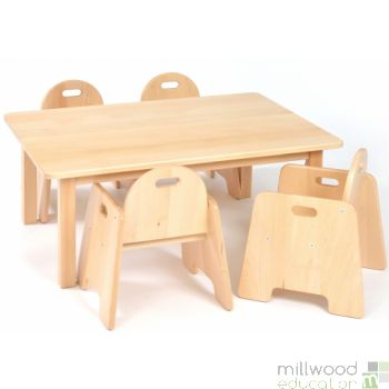 Rectangular Table With 4 Infant Chairs - 40cmH