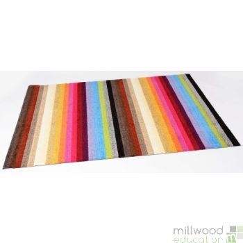 Stripy Tufty Rug - Rainbow