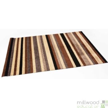 Stripy Tufty Rug - Chocolate Caramel