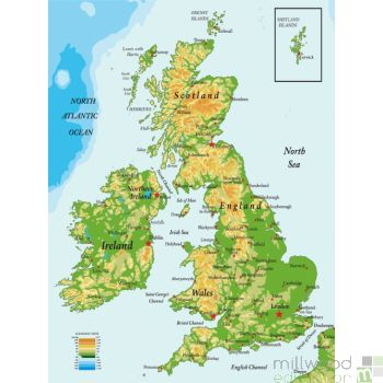 British Isles Map Wallboard