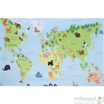 Printed Animal of the World Map