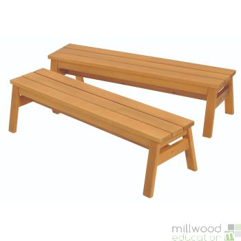 Set of 2 Wooden Benches