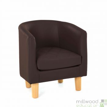 Quilted Tub Chair - CHOCOLATE