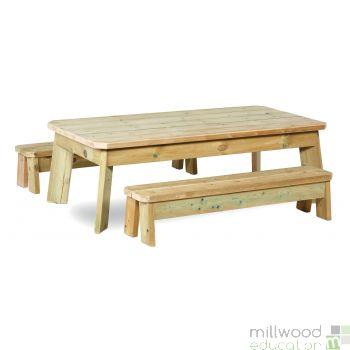 Outdoor Rectangular Table and Bench Set Pre School