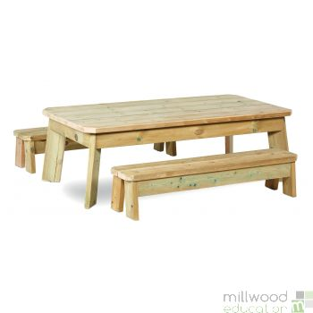 Outdoor Rectangular Table and Bench Set Toddler