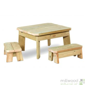 Outdoor Square Table and Bench Set Toddler