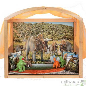 Wooden Stage Setter with Dinosaur Scene Setter
