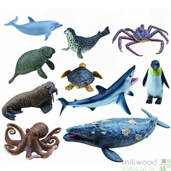 Plastic Ocean Life Animals Set