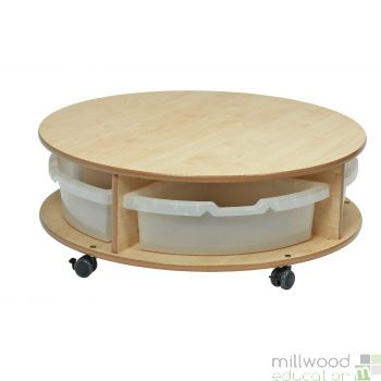 Single Tier Mobile Circular Storage Unit with Tubs