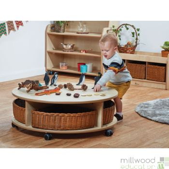 Single Tier Mobile Circular Storage Unit with Baskets