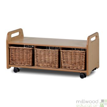 Low Level Storage Bench with Baskets/Castors