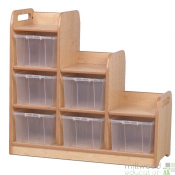 Stepped Storage Left Hand with Clear Tubs
