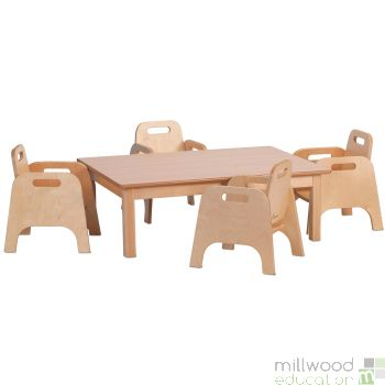 Small Rectangular Table H40cm and 4 Sturdy Chairs H20cm