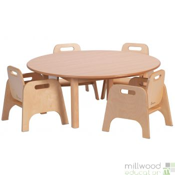 Circular Table H40cm and 4 Sturdy Chairs H20cm