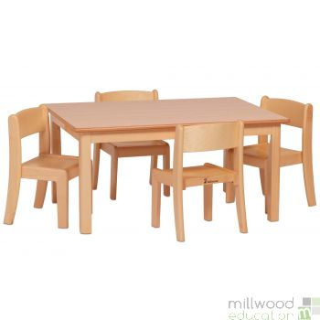 Small Rectangular Table H46cm and 4 Beech Stacking Chairs H26cm