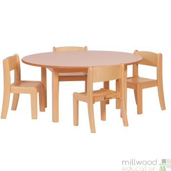 Circular Table H46cm and 4 Beech Stacking Chairs H26cm