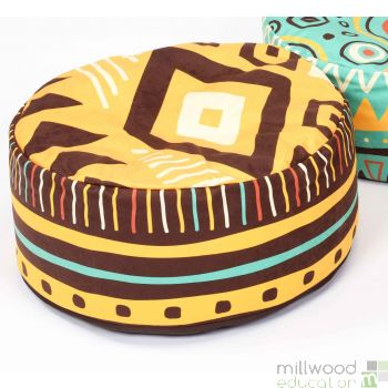 African Bean Pouffe Orange