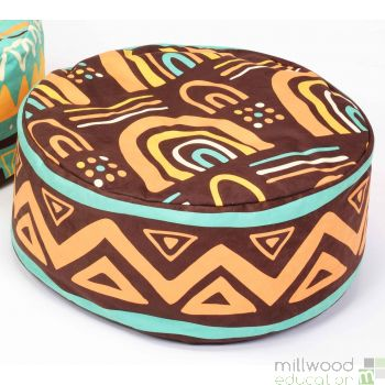 African Bean Pouffe Brown