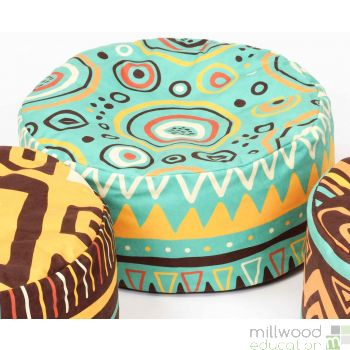 African Bean Pouffe Turquoise