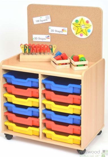 TSS Storage Unit with Cork Panel and 12 Shallow Coloured Trays