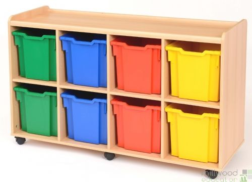 8 Jumbo Tray Unit with Coloured Trays