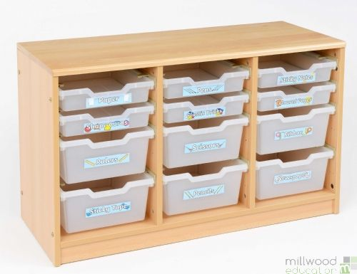 RS 6 Deep, 6 Shallow Clear Tray Storage Unit