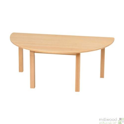 Half Circular Solid Beech Table - 53cmH