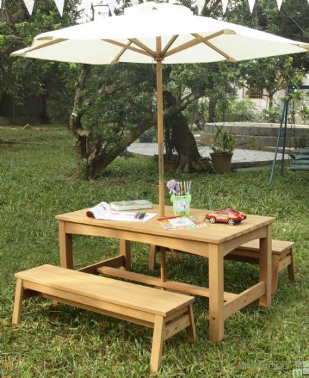 Outdoor Wooden Table and Benches Set