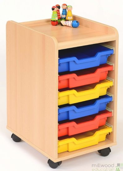 TTS 6 Shallow Tray Storage Unit with Coloured Trays