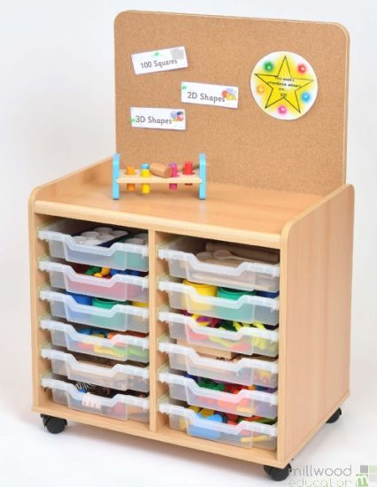 TSS Storage Unit with Cork Panel and 12 Shallow Clear Trays