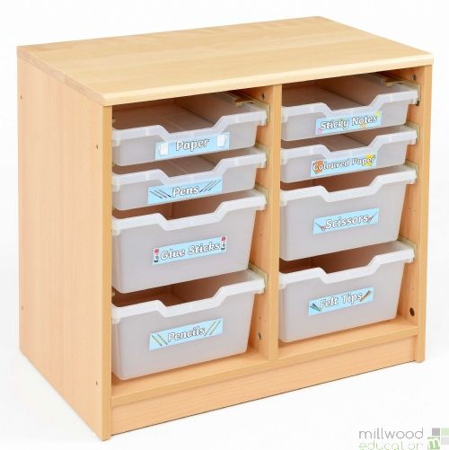 RS 4 Deep, 4 Shallow Clear Tray Storage Unit