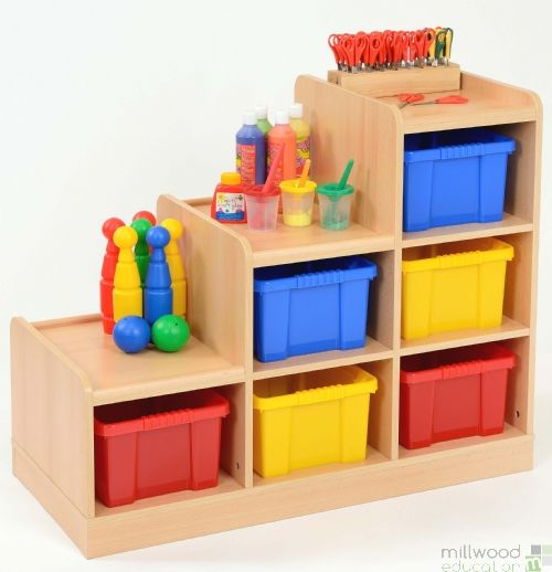 Left-Hand Tiered Unit with 6 Coloured Trays