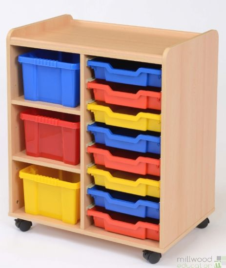 3 Deep/8 Shallow Tray Unit with Coloured Trays