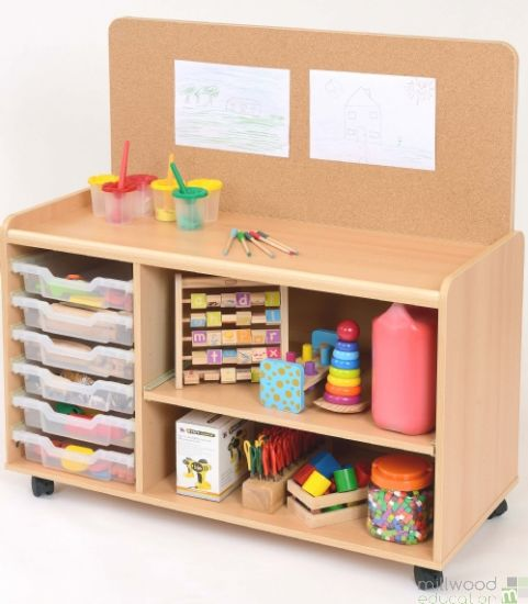 TTS 6 Deep Tray Storage Unit with Cork Board and Clear Trays