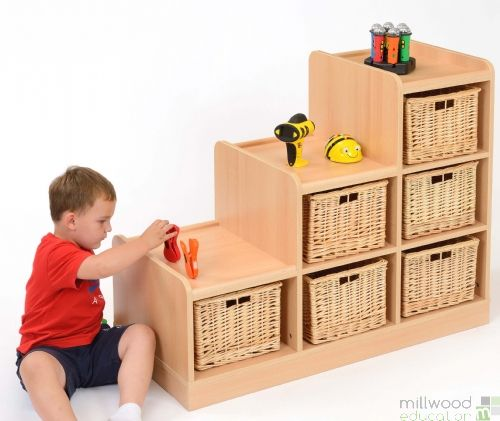Tiered Unit with Willow Baskets LH
