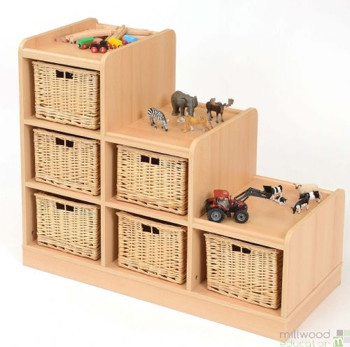Tiered Unit with Willow Baskets RH