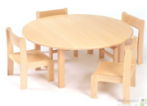 Beech Circular Table 46.5cmH with 4 Chairs