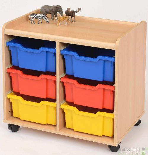 TSS Storage Unit with 6 Deep Coloured Trays