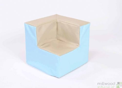 Beige and Sky Blue Toddler Corner Chair