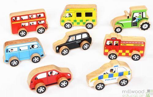 Wooden Vehicle Set of 8