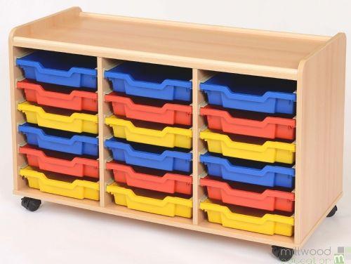 TSS Storage Unit with 18 Shallow Coloured Trays