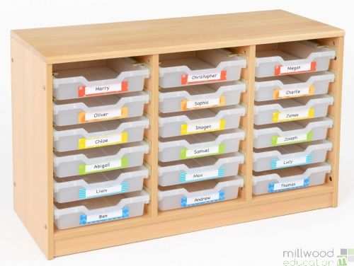 RS 18 Shallow Clear Tray Storage Unit